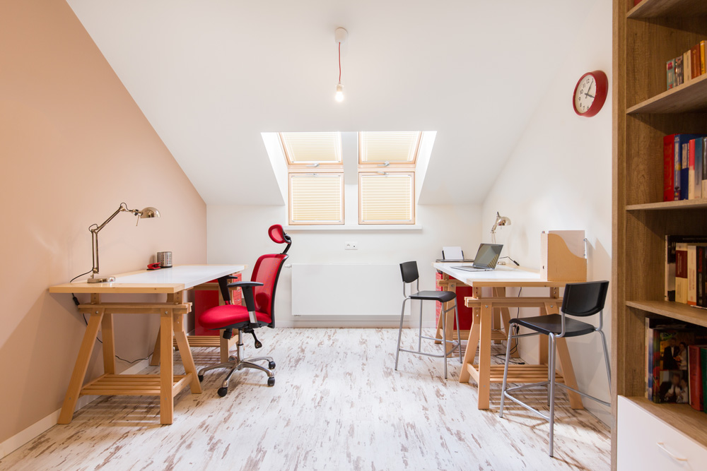 simple attic office with two desks