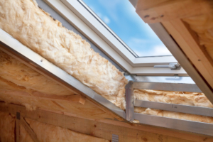 image of insulation around sky light casement window